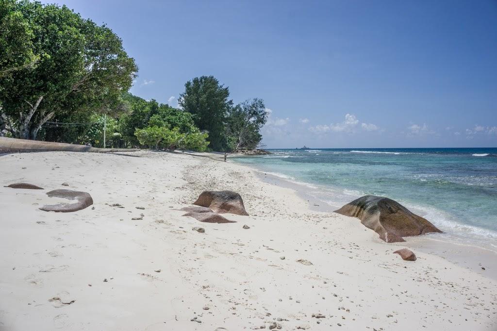 Seszele rajska plaża z delikatnym piaskiem i niebieską wodą