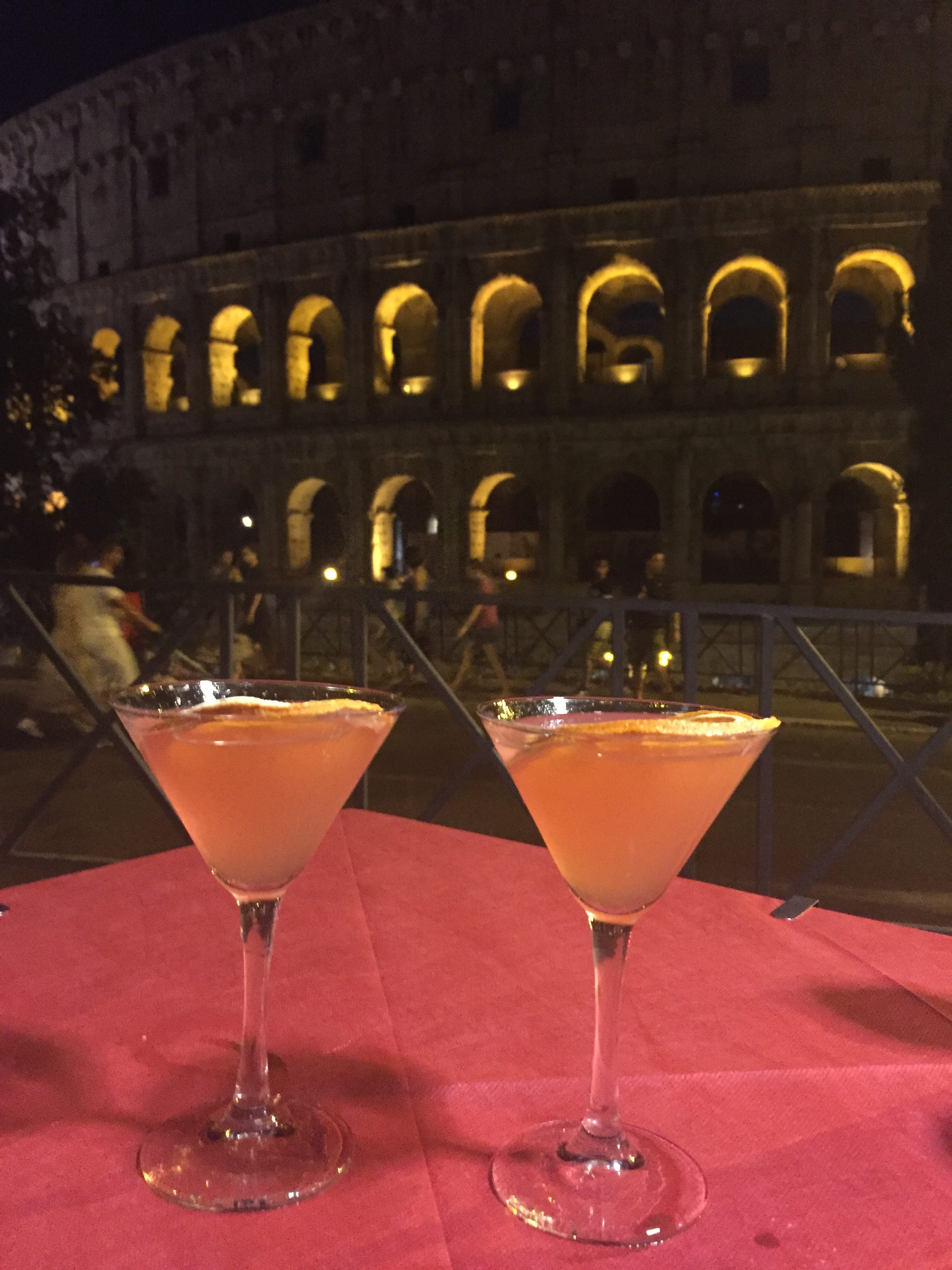 Cosmopolitan drinks with a view on Colosseum Rome