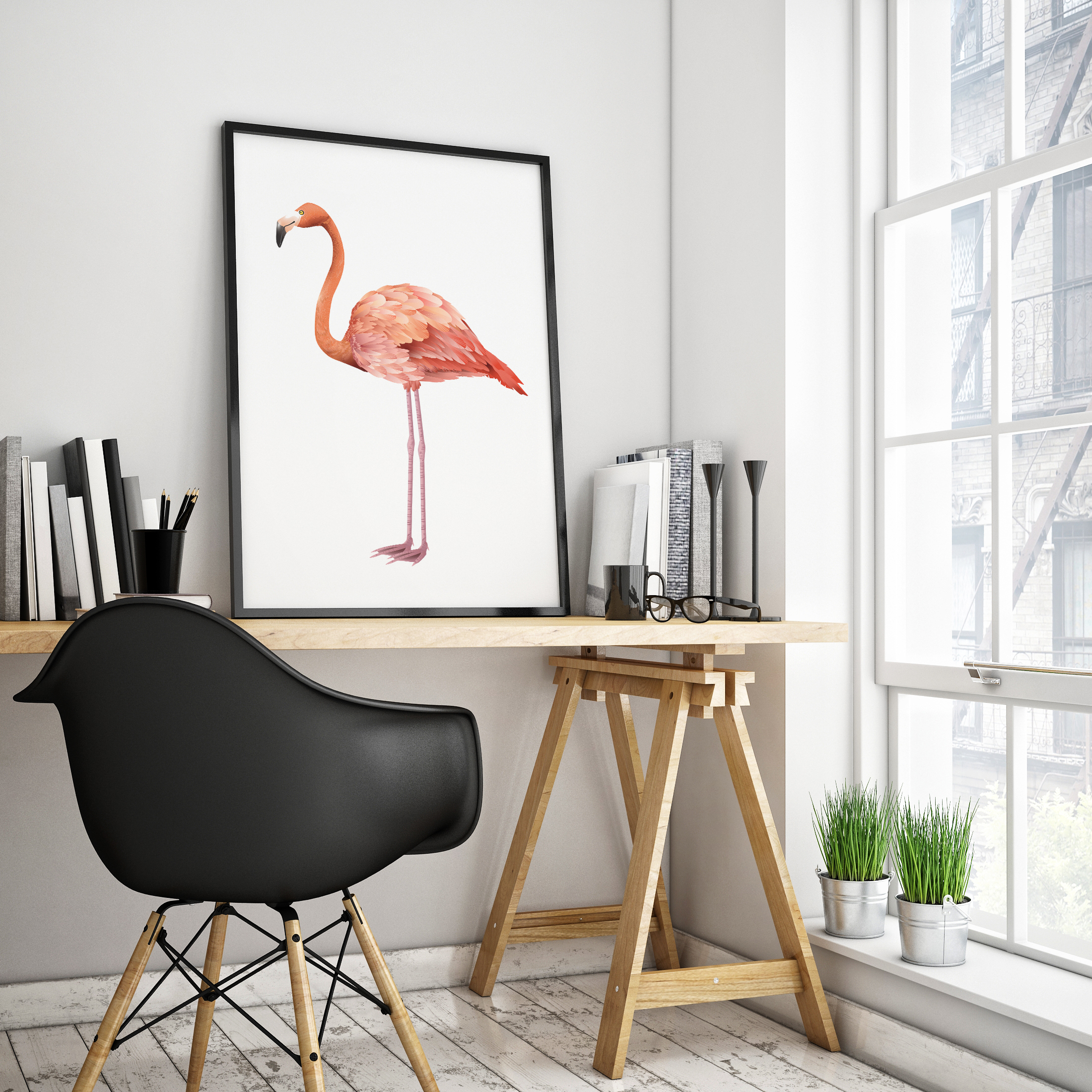 free printable flamingo poster