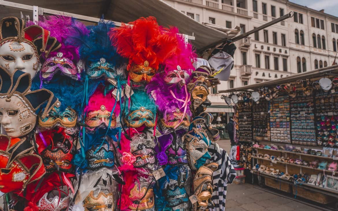 Colorful carnival masks in Venice, Italy.